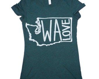 WA LOVE T Shirt, Washington State, Women's Bella Canvas Swoop Neck Tee, seattle, tacoma, cool, state, illustration, artwork, hand printed