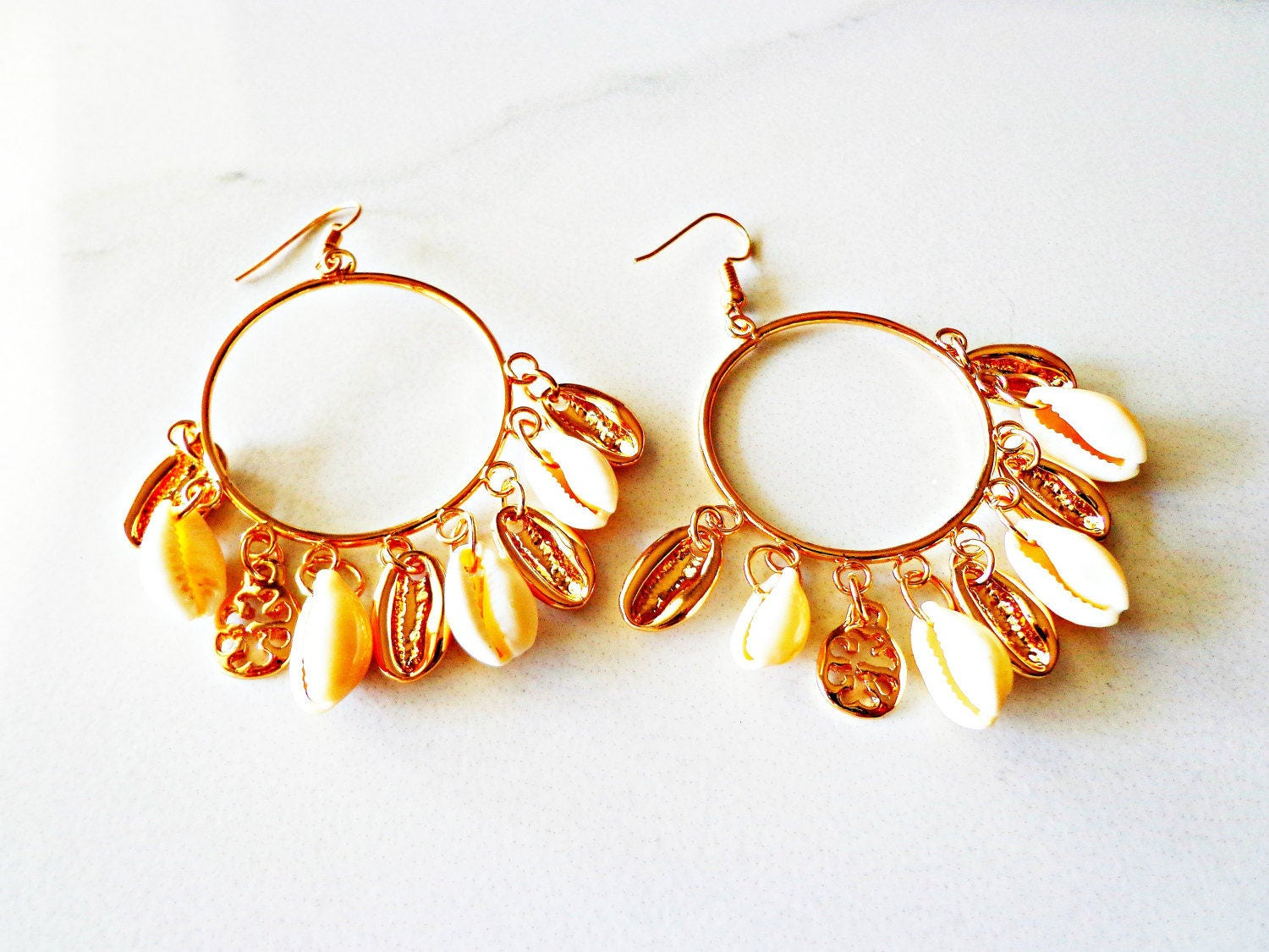 Natural Cowrie Shell Tassel Earrings Gold Hoop Earrings