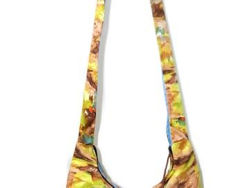 Autumn boho bag, Psychedelic hobo bag, kaleidoscope purse, crossbody bag, cross over bag, bohemian bag, slouch bag, festival bag