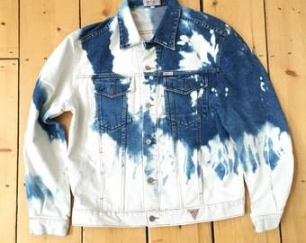Vintage 80s Georges Marciano Guess? Blue Bleached Acid Wash Denim Jean Jacket - XL ASAP