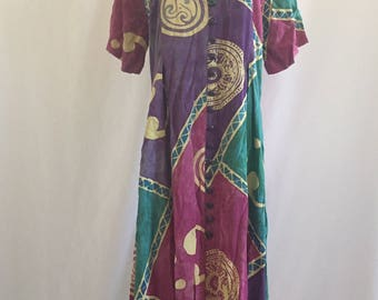 vintage 90's TIE DYED BATIK maxi dress - small, medium, nwt