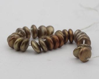 6mm Lentil Silky Iris Mix Glass Bead  25 Pieces