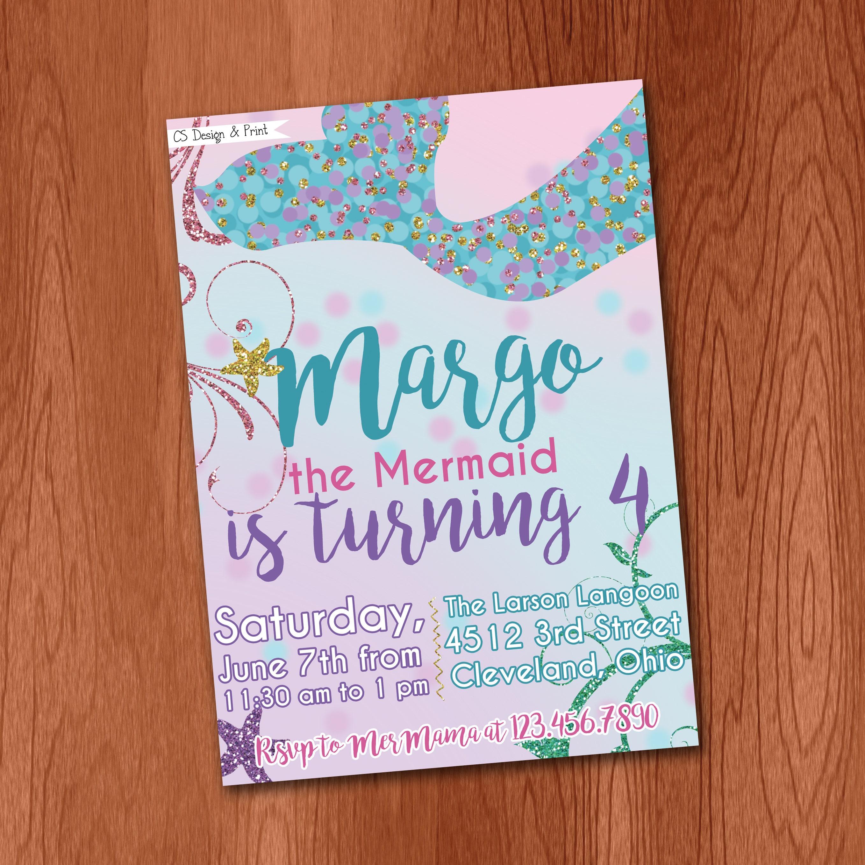 Mermaid Birthday Party Invitation - Printable Invitation Little ...