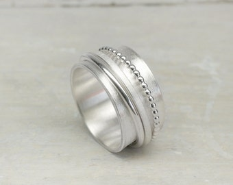 925 Silver Spinner Ring, Rotating ring 3 elements, 925 silver, silver ring with movable rings, band ring, family ring