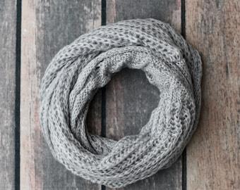 SCARF, Infinity Scarf, Grey Scarf, Grey Knit Scarf, Grey Neck Scarf, Neck Scarf, Knit Scarf, Fashion Scarf, Winter Scarf, Scarfs, Scarves