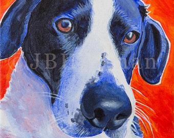 "English Pointer - 8x10"" Print of original dog portrait acrylic painting"