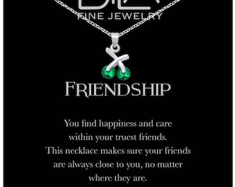 DTLA Friendship Necklace in Sterling Silver with Inspirational Quote Card - Emerald Green CZ