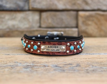 CUSTOM Leather Dog Collar // Name Plate and Turquoise