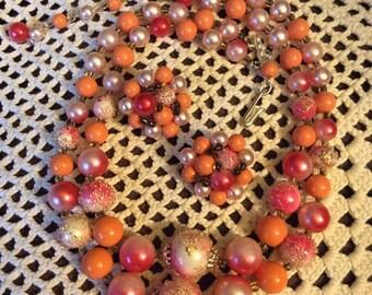Vintage 1950s 1960s Necklace Clip On Earrings Beads Demi Parure 2 Piece Set Orange Pink Double Strand Signed Japan