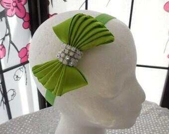 light green headband,boutique bow headband.