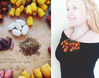 Organic   Necklace, terracotta Silk Сocoons necklace . eco  silkworm cocoons