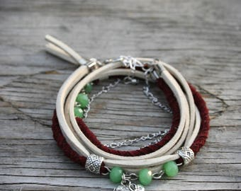 Women's double bracelet, elephant charm, silver chain, green pearls, braided burgundy and beige suede. - BRA22
