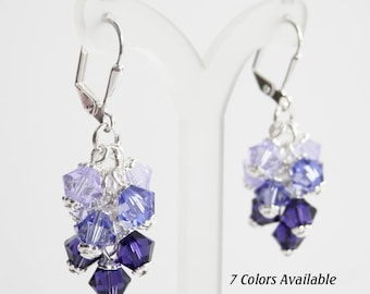 Crystal Cluster Earrings - Ombre Earrings - Swarovski Crystal - Wedding Jewelry - Purple, Aqua. Yellow, Pink,  Blue, Orange, Green
