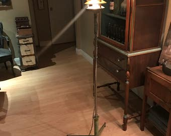 cool industrial green distressed outdoor light rewired shabby heavy steel floor lamp