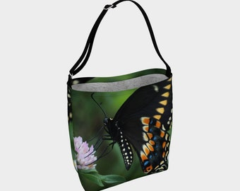 Butterfly Tote/Tote Bag/Swallowtail Butterfly Bag/Dance Tote/Butterfly Book Bag/Black/Blue/Gym Tote/Market Bag/Made to Order