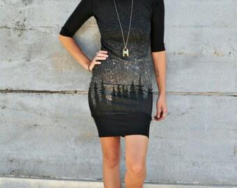 Mod Dress, Starry Night Print, Black Dress, Elbow Length Sleeve, Raglan Sleeve Top, Treeline Print, Bamboo Jersey, Knee Length Dress