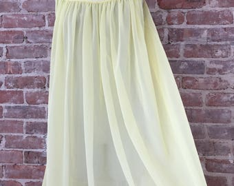 M / Babydoll Nightgown / Yellow Peignoir / Chiffon Nightgown / FREE USA Shipping
