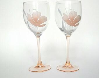 Vintage Luminarc Pink Rosealine Wine Glass Set of 2 Flower Cottage Chic French Arcoroc Rose Stem Epsteam Wedding Gift 1980s France Barware