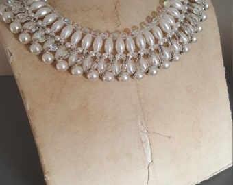 Vintage White/Off White/Ivory Faux Pearl Choker Collar Necklace