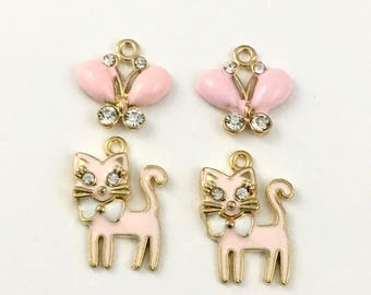 4 cat and butterfly enamel gold charms, 18mm to 24mm # CH 034