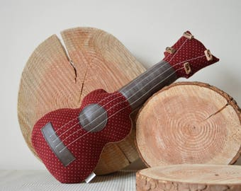 Ukulele Cushion, Ukulele Pillow, Folk Music, Gift for Musician, Decorative Ukulele in Red Polka Dot Corduroy