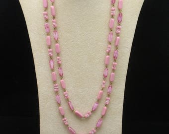 """46"""" Long Necklace with Shades of Pink Glass Beads"""