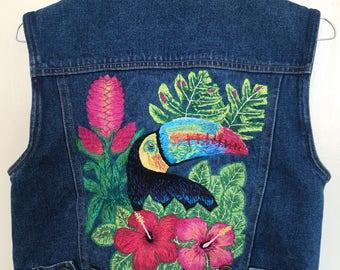 Hand embroidered crop sleeveless denim jacket