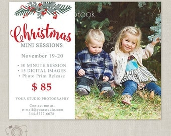 Christmas Mini Session Template - Photography Marketing Board - Christmas Minis - Photoshop Template for Photographers 101, INSTANT DOWNLOAD