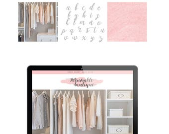 Logo Pink Watercolor Branding Kit Premade Photography Blogger Etsy Shop Logo Boho Feminine Customize Colors Fonts