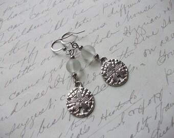 Sand dollar aqua seaglass earrings