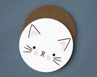 Cute Cat Face Coaster - Illustrated Coaster, Kitten Coaster, Cat Coaster, Animal Coaster, Cute Coaster, Kitten Face, Cat Lady, Cat Gift