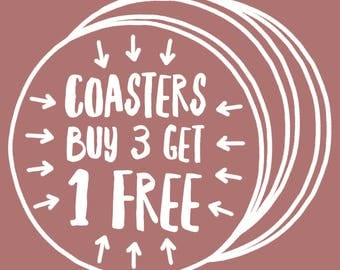 Buy 3 Get One Free - Hand Illustrated Coasters , Funny Coaster, Cute Coasters, Animal Coaster, Nerd Coaster, Adorable Coasters, Coaster Set