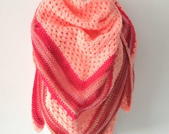 Crochet shawl salmon and pink