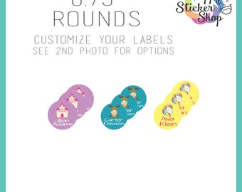 "108 Kid's Name Label Stickers 0.75"" Rounds - Waterproof, Dishwasher Safe for School, Daycare, Camp"