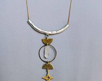Witch of Endor Crystal, Star, and Half Moon Triple Goddess Necklace
