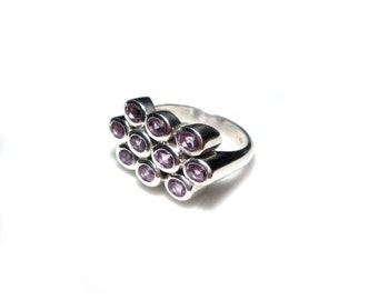 Amethyst Gr. 60, gemstone silver ring, sterling silver ring gem stone US size 9.1 UK size S vintage solid Silverring precious