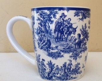 """Vintage  Blue and white Waverly- """"Country Life"""" Large 12 Ounce Mug- Hard to Find"""