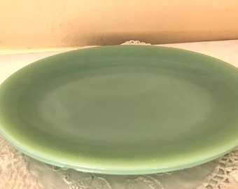 Reserved Vintage 1950 Fire  King Jadite Green Dinner Plate in the Jane Ray Pattern-9""