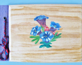 Hand Painted Austrian Album, Sketch Book, Scrap Book,  GENTIAN, Enzian, Alpine Flowers, Wooden Covers