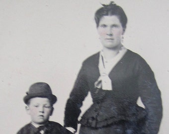 Mama Raised Me Right - Original 1870's Mother and Son Tintype Photograph - Free Shipping