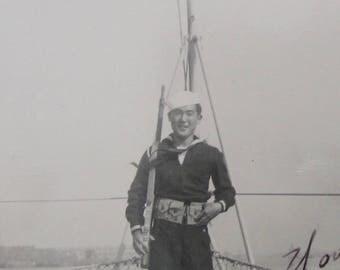 The Patriot - Original 1940's World War II US Japanese Sailor Poses On Ship Snapshot Photo - Free Shipping
