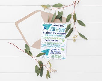 Printable Paper Airplanes Sip & See (Kids Birthday, Baby Shower and Party) Invitation