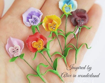 Alice in wonderland miniature Pansies clay flower
