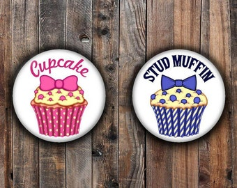 Cupcakes and Stud Muffins girl and boy gender reveal pins.