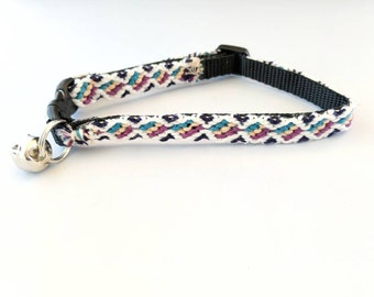 Friendship Bracelet Cat Collar, Tri Colors, Safety Breakaway Clasp, Adjustable for Kittens & Cats