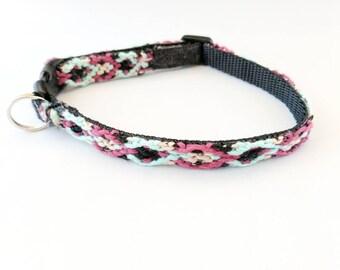 Friendship Bracelet Cat Collar, Diamond X Design, Safety Breakaway Clasp, Adjustable Kitten Collar