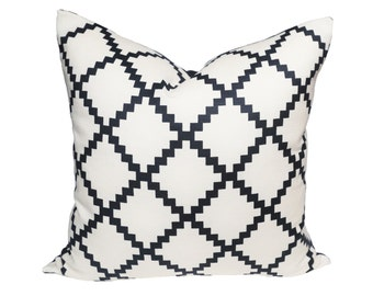Lulu DK Reverse Chant Navy - Designer Pillow Cover - 1 Sided or 2 Sided - Made to Order - Choose Your Size