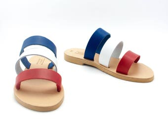 Colorful sandals, 4th of July sandals, independence day slides, three color sandals