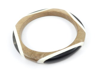Vintage Wood Horn Bangle, Brown, White, Hand Carved, Made in Thailand