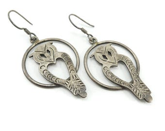 Vintage Taxco Owl Earrings, Sterling Silver, Dangles, Hooks, Signed, Mexico 925 TH-53